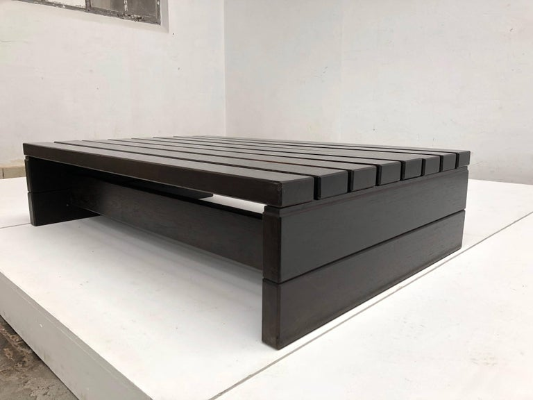 Mid-20th Century 1960s Solid Wengewood Midcentury Coffee Table or Bench the Netherlands For Sale