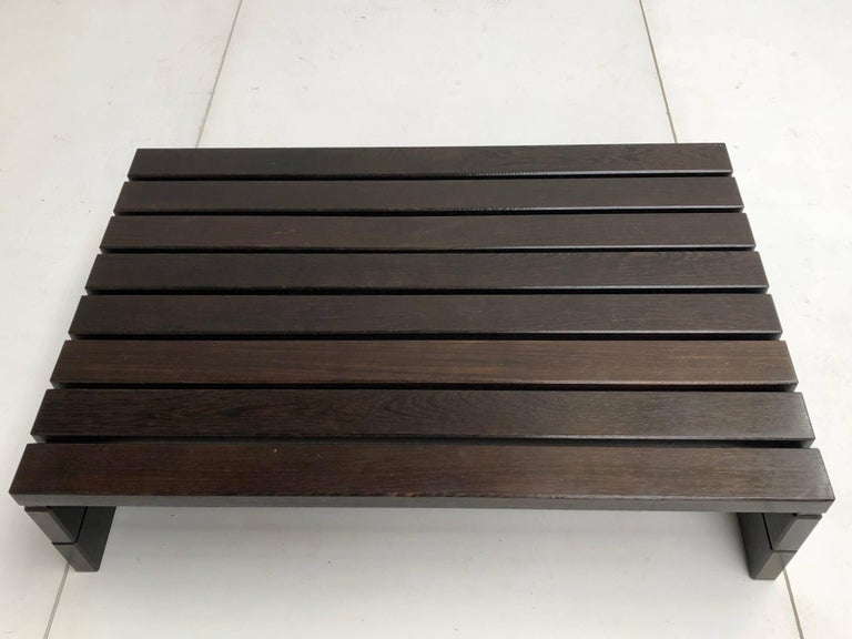 1960s Solid Wengewood Midcentury Coffee Table or Bench the Netherlands For Sale 4