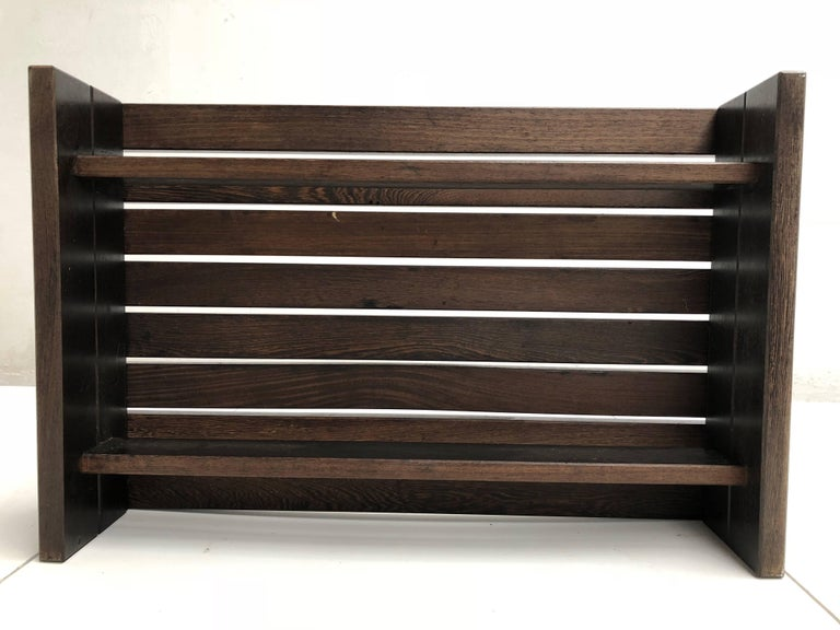 Brutalist 1960s Solid Wengewood Midcentury Coffee Table or Bench the Netherlands For Sale