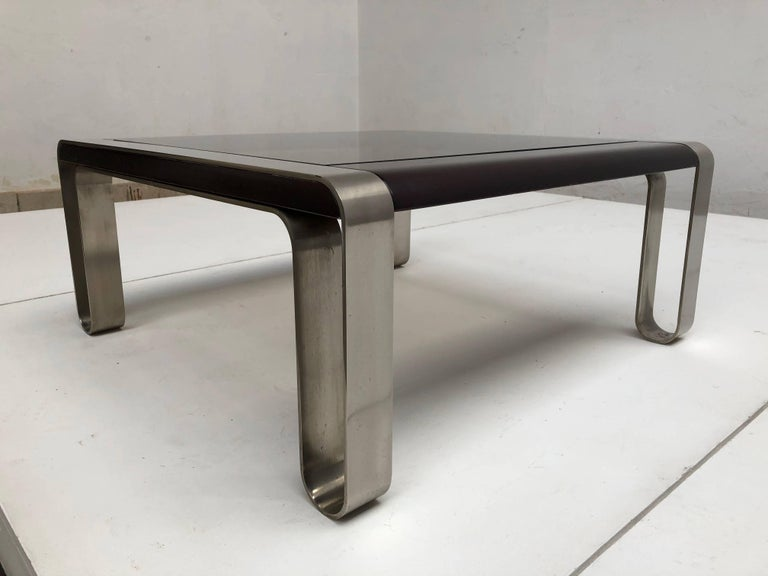 Italian, 1970s Sculptural Coffee or Side Table Nickel-Plated Steel, Wood & Glass For Sale 2