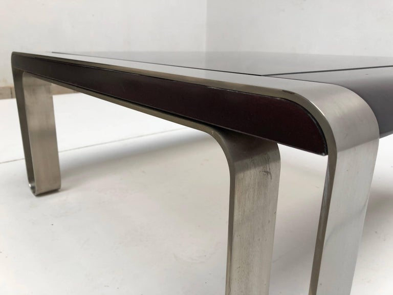 Italian, 1970s Sculptural Coffee or Side Table Nickel-Plated Steel, Wood & Glass For Sale 3