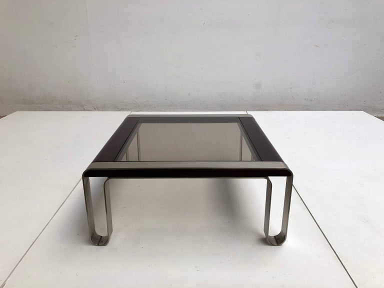 Late 20th Century Italian, 1970s Sculptural Coffee or Side Table Nickel-Plated Steel, Wood & Glass For Sale