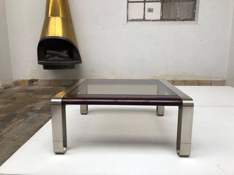 Lacquered Italian, 1970s Sculptural Coffee or Side Table Nickel-Plated Steel, Wood & Glass For Sale