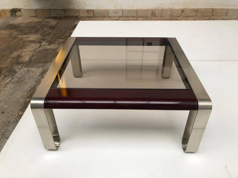 Hardwood Italian, 1970s Sculptural Coffee or Side Table Nickel-Plated Steel, Wood & Glass For Sale