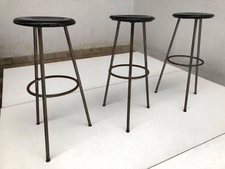 1950s Swiss Industrial Confection Atelier Tripod Working / Bar Stools For Sale 3