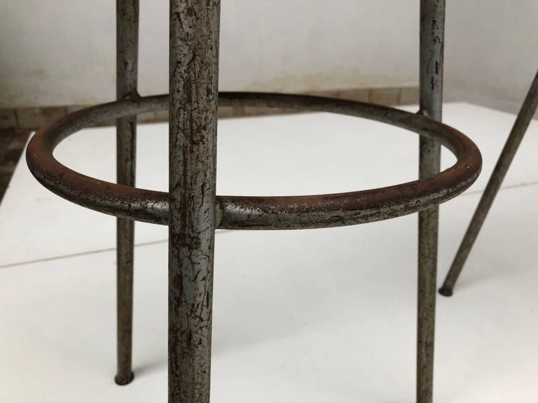 Mid-20th Century 1950s Swiss Industrial Confection Atelier Tripod Working / Bar Stools For Sale