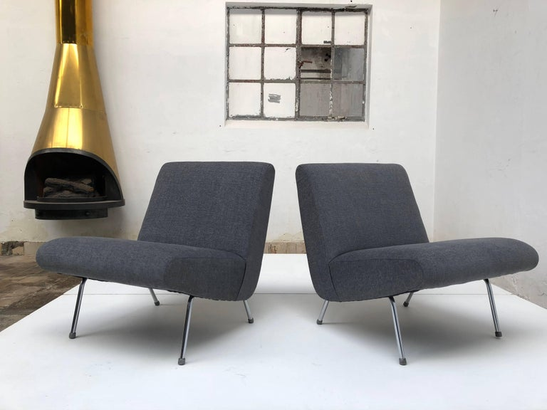 Mid-20th Century Pierre Guariche Model 'Breda' Lounge Chairs for Meurop, 1960s, New Upholstery! For Sale