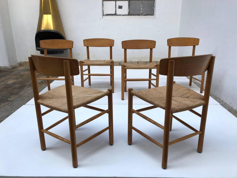 Set of Six Borge Mogensen J39 Shaker Oak and Papercord Dining Chairs, Denmark 5