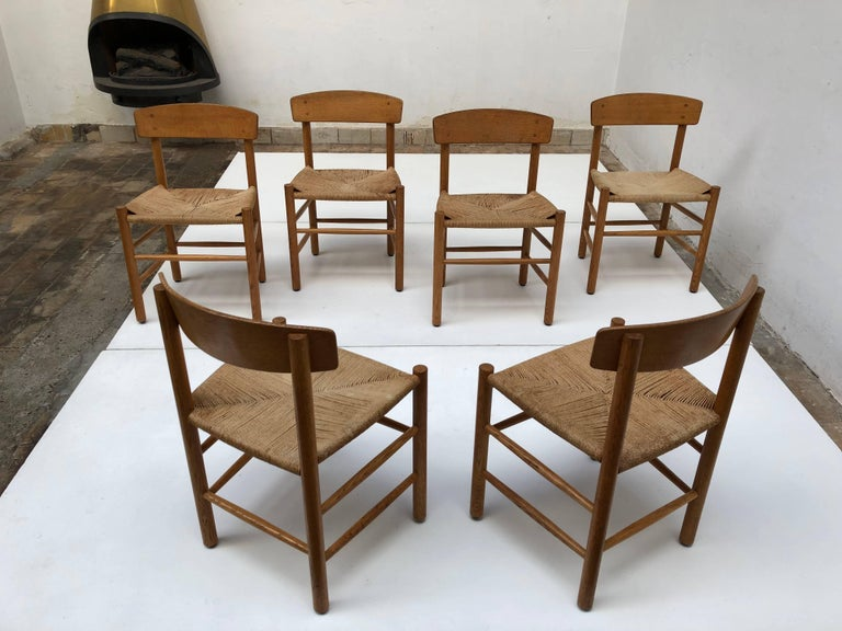 Set of Six Borge Mogensen J39 Shaker Oak and Papercord Dining Chairs, Denmark 2
