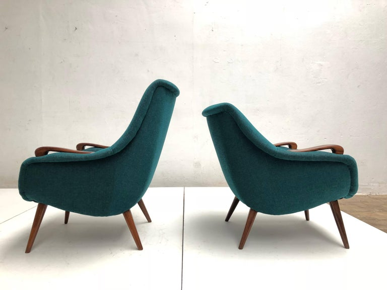 Scandinavian Modern Scandinavian Lady and Senior Easy Chairs with New De Ploeg Steppe Upholstery  For Sale