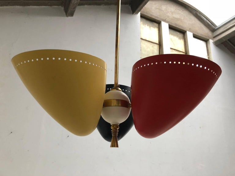 Rare and Large 1950s Brass Tri-Color Chandelier by H. Th. J. A. Busquet for Hala For Sale 2