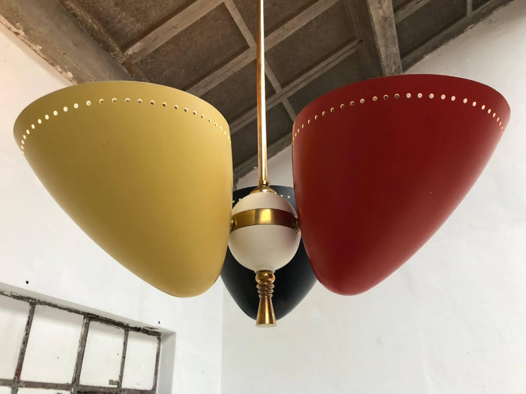 Mid-20th Century Rare and Large 1950s Brass Tri-Color Chandelier by H. Th. J. A. Busquet for Hala For Sale