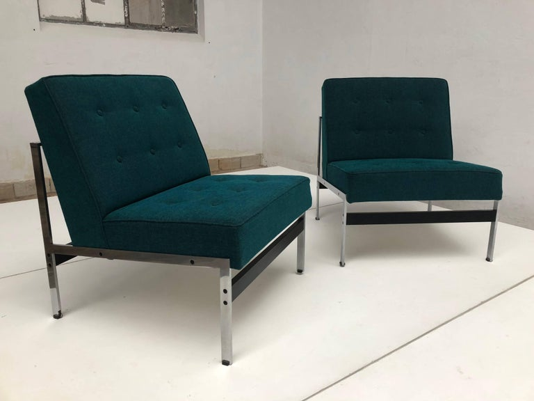 Steel Rare Pair of 020 Lounge Chairs, Kho Liang Ie for Artifort the Netherlands, 1958 For Sale