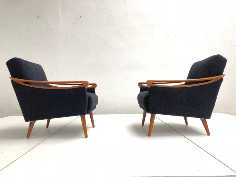 Mid-20th Century Pair of New Upholstered Mid-Century Modern Armchairs by Lifa, West Germany, 1963 For Sale