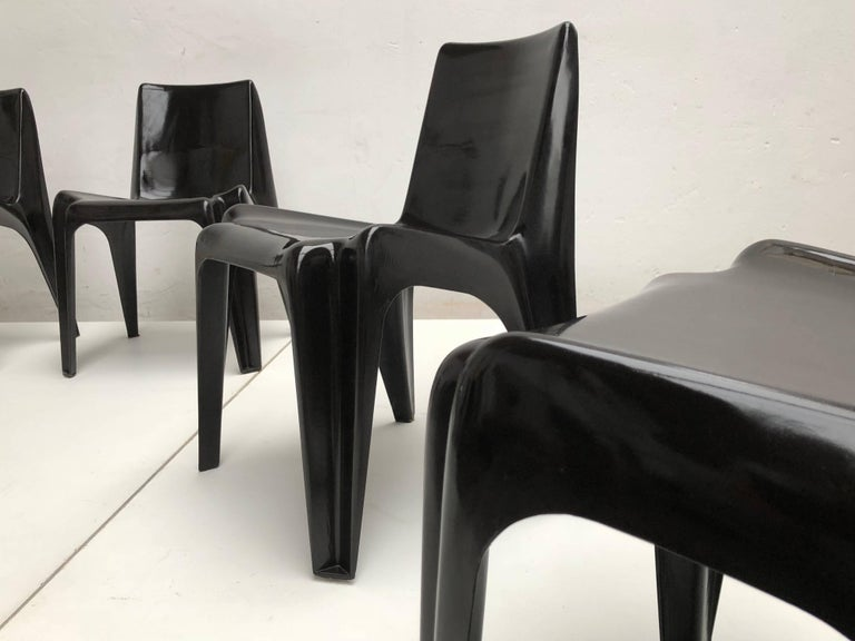 Six Black Space Age BA 1171 Chairs by Helmut Bätzner for Bofinger, Germany, 1964 For Sale 2