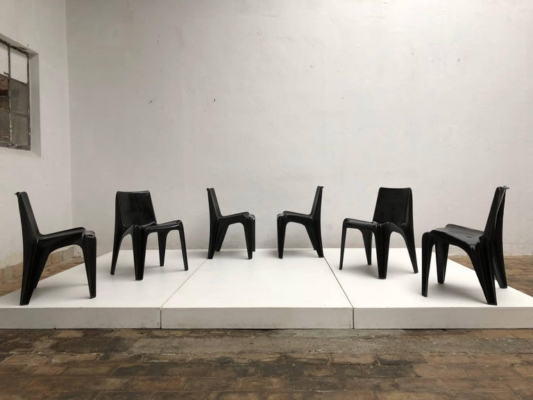 Rare set of six black reinforced and moulded fibreglass stackable Bofinger chairs A modern design classic from the Space Age period of the 1960s.  The Bofinger chair, also named BA 1171, was designed by architect and designer Helmut Bätzner in