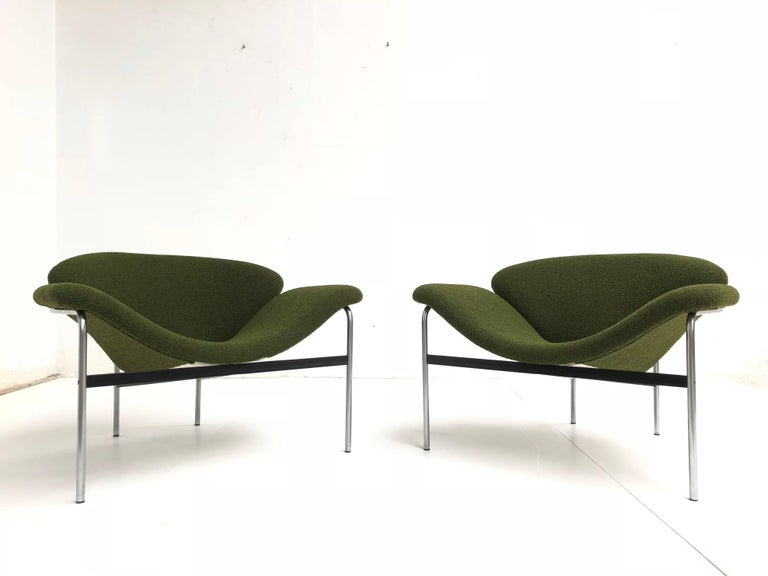 Mid-Century Modern Rare Pair of 1960s Dutch 'Groovy' Lounge Chairs Attributed to Gelderland For Sale
