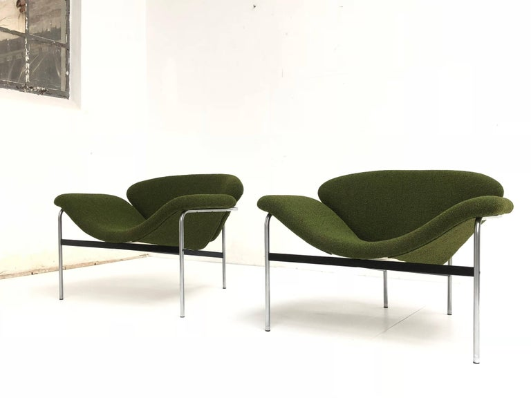Steel Rare Pair of 1960s Dutch 'Groovy' Lounge Chairs Attributed to Gelderland For Sale