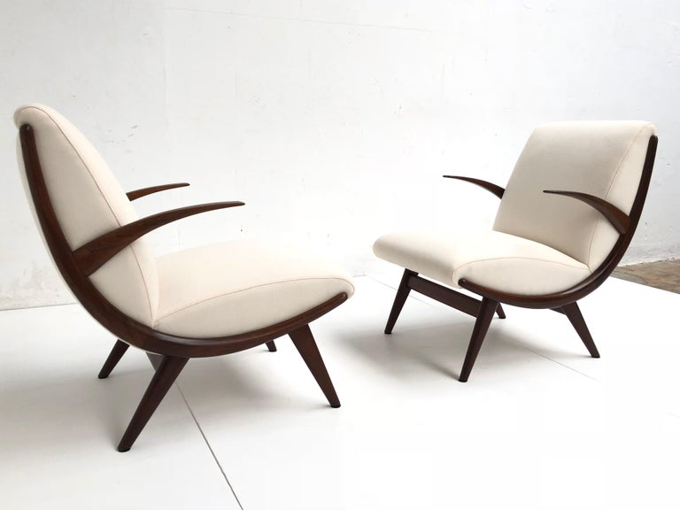 Scandinavian Modern Pair of Stunning Scandinavian 1950s Teak Lounge Armchairs New Wool Upholstery For Sale