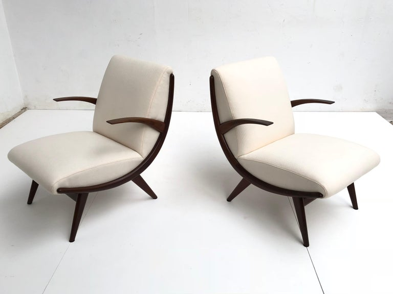 Pair of Stunning Scandinavian 1950s Teak Lounge Armchairs New Wool Upholstery In Good Condition For Sale In bergen op zoom, NL
