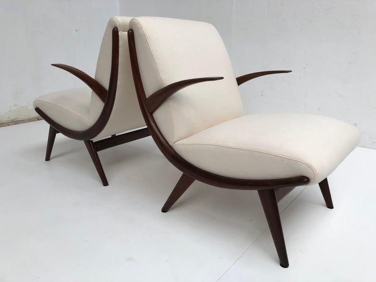 Pair of Stunning Scandinavian 1950s Teak Lounge Armchairs New Wool Upholstery For Sale 3