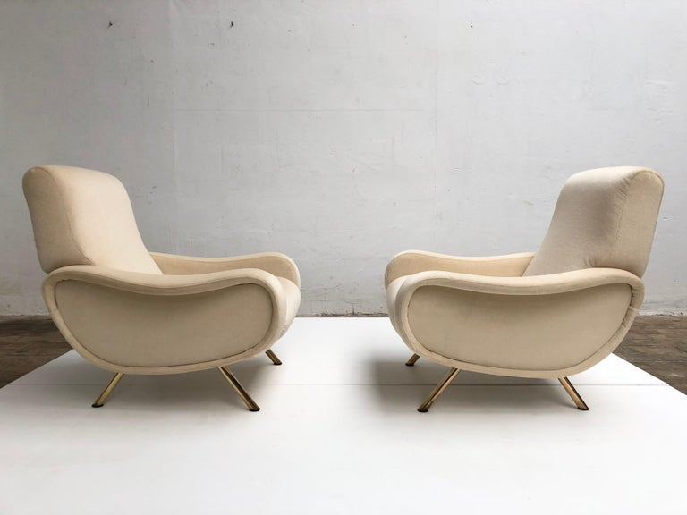 Mid-Century Modern Restored Early Production Wood Frame Zanuso 'Lady' Chairs, 1951, Mohair Fabric  For Sale