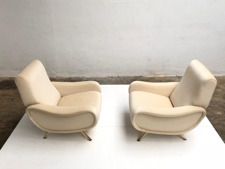 Mid-20th Century Restored Early Production Wood Frame Zanuso 'Lady' Chairs, 1951, Mohair Fabric  For Sale