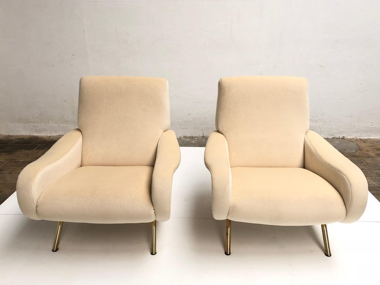 Italian Restored Early Production Wood Frame Zanuso 'Lady' Chairs, 1951, Mohair Fabric  For Sale