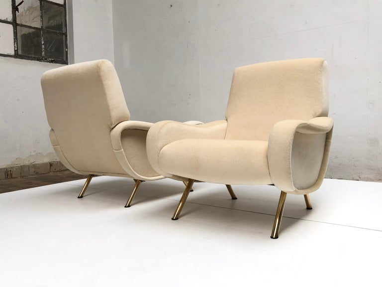 Restored Early Production Wood Frame Zanuso 'Lady' Chairs, 1951, Mohair Fabric  In Good Condition For Sale In bergen op zoom, NL