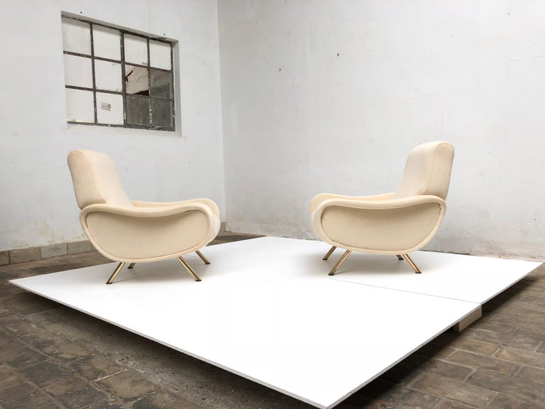 Brass Restored Early Production Wood Frame Zanuso 'Lady' Chairs, 1951, Mohair Fabric  For Sale