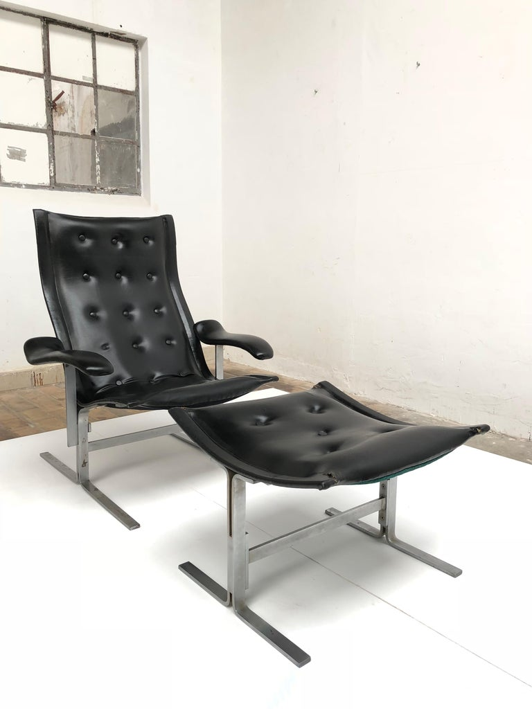 Faux Leather Franco Campo lounge chair & ottoman, two sets in existence ,cert of authenticity For Sale