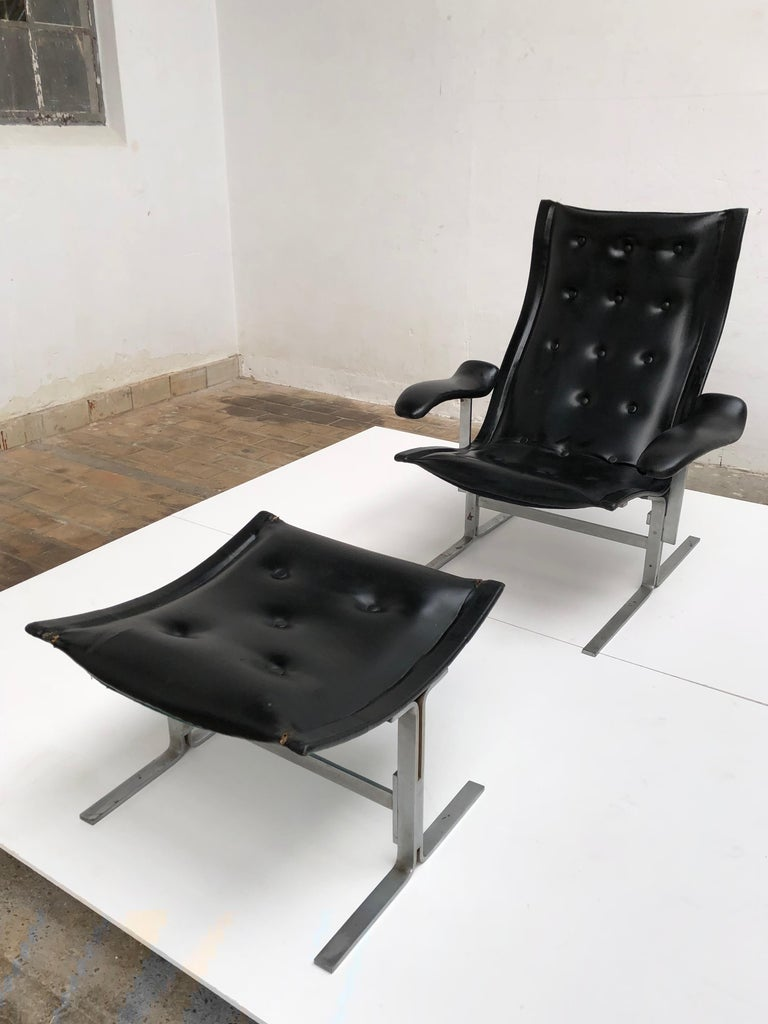 Mid-20th Century Franco Campo lounge chair & ottoman, two sets in existence ,cert of authenticity For Sale