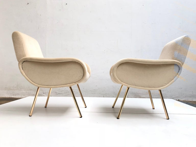Latex Zanuso Mohair 'Baby' Lounge Chairs, Early Wood Frames, Brass Legs, Arflex,1951 For Sale