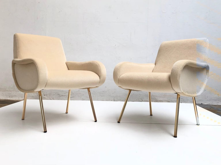 Enameled Zanuso Mohair 'Baby' Lounge Chairs, Early Wood Frames, Brass Legs, Arflex,1951 For Sale