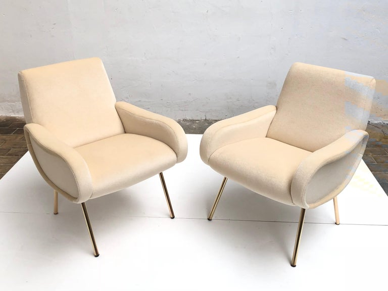 Zanuso Mohair 'Baby' Lounge Chairs, Early Wood Frames, Brass Legs, Arflex,1951 For Sale 2