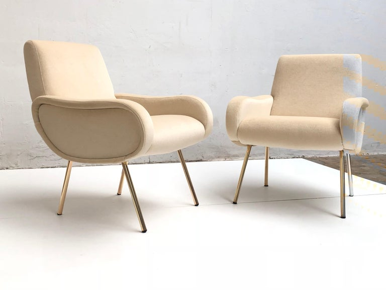 Mid-Century Modern Zanuso Mohair 'Baby' Lounge Chairs, Early Wood Frames, Brass Legs, Arflex,1951 For Sale