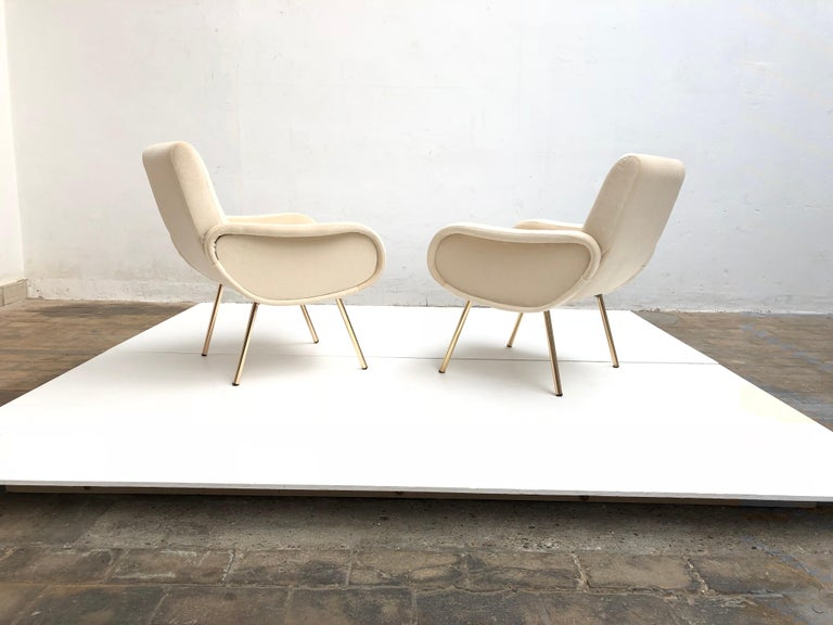 Italian Zanuso Mohair 'Baby' Lounge Chairs, Early Wood Frames, Brass Legs, Arflex,1951 For Sale