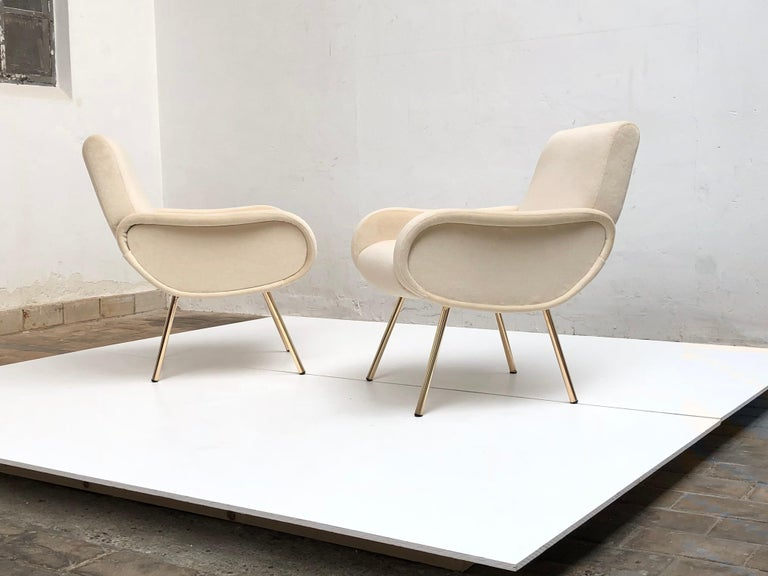Mid-20th Century Zanuso Mohair 'Baby' Lounge Chairs, Early Wood Frames, Brass Legs, Arflex,1951 For Sale