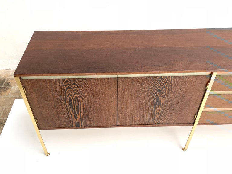 Brass 'Copal' Credenza in Panga Panga by Kho Liang le & Wim Crouwel for Fristho, 1960 For Sale