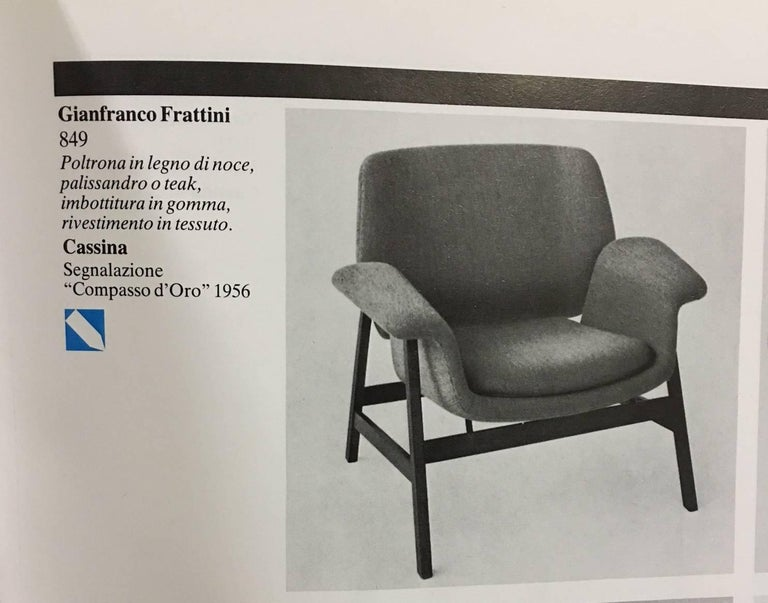 A pair of Gianfranco Frattini '849' chairs for Cassina requiring new upholstery, the listed price includes the  upholstery labor costs , great opportunity to choose your own fabric.  These chairs were designed by Italian architect and designer