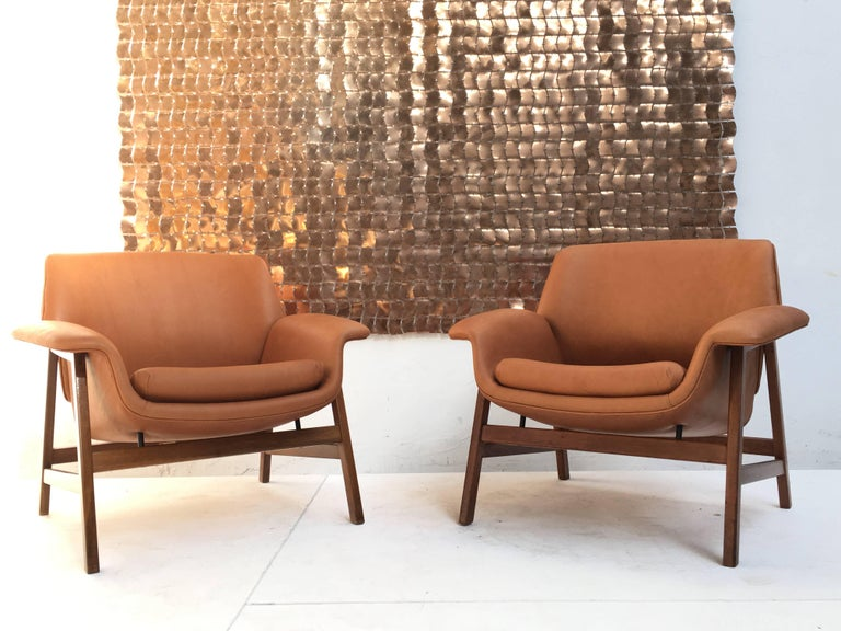 Pair of lounge chairs by  Gianfranco Frattini , 1956,  choose your own fabric. For Sale 9
