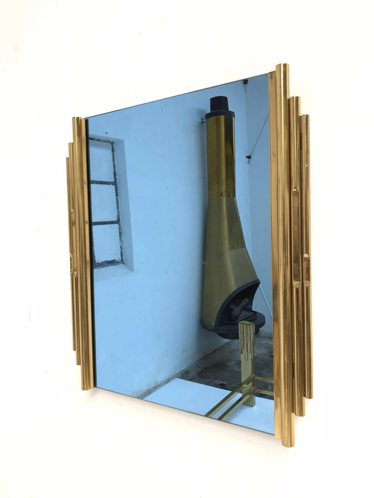 Amazing Brass Sculptural Form Bed with Matching Blue Glass  Mirror, Italy, 1960 For Sale 3