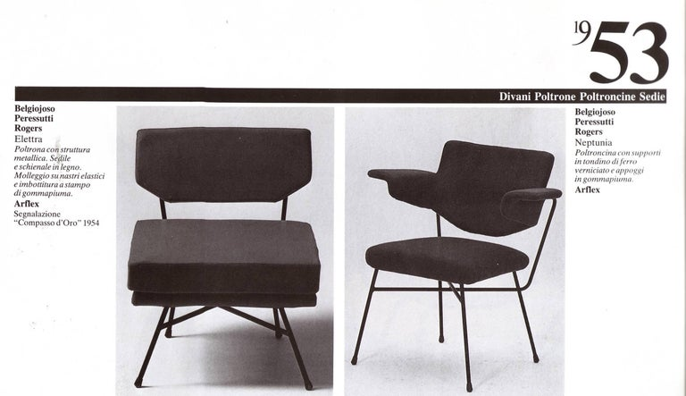 Pair of 'Elettra' Lounge Chairs by BBPR , Arflex,Italy 1953, Compasso D'Oro 1954 For Sale 10