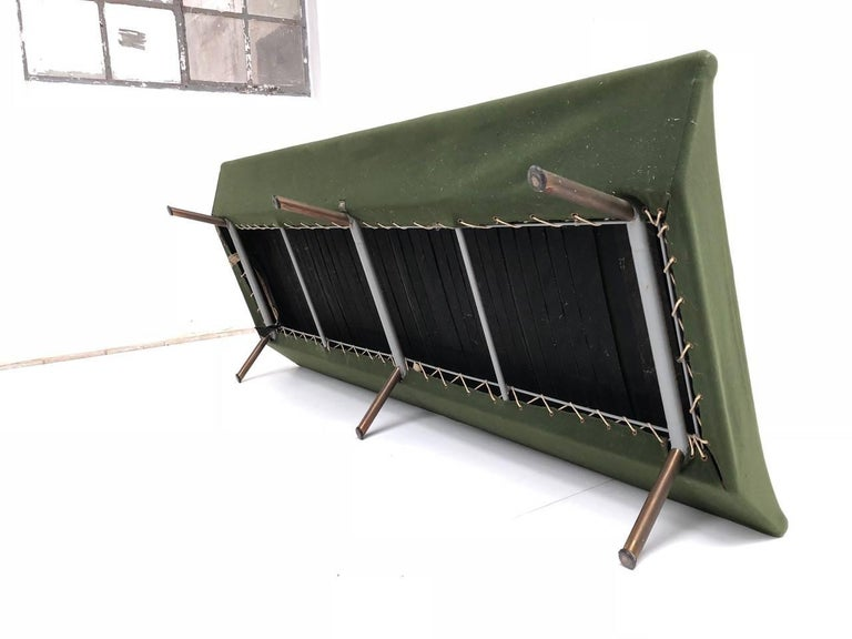Superb 'Triennale' Brass Leg Daybed by Zanuso for Arflex, 1951, Original Labels For Sale 6