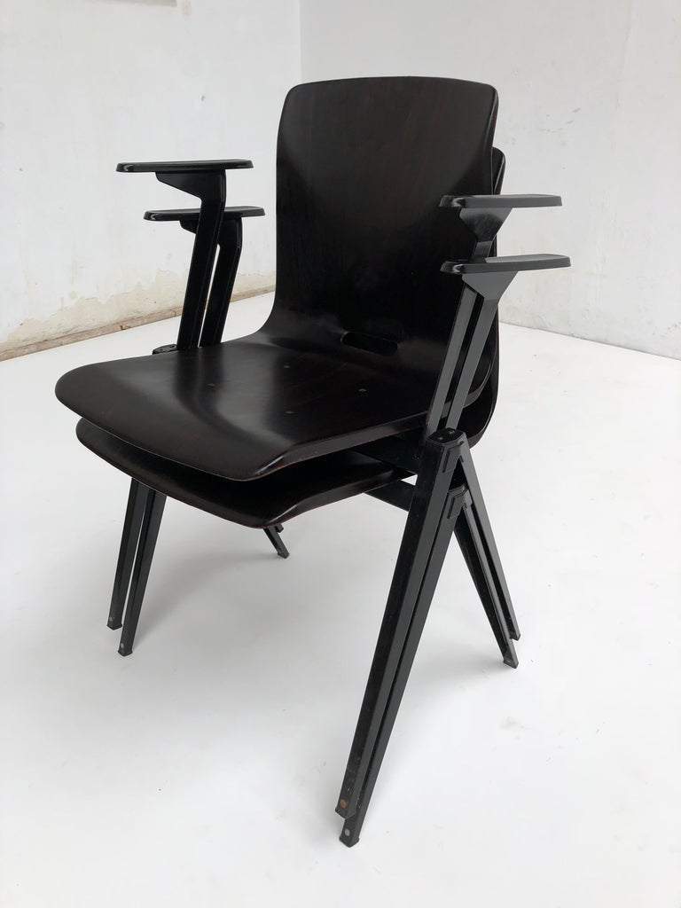 Steel S22 Pyramid Stackable Armchair by Galvanitas The Netherlands, 1960s For Sale