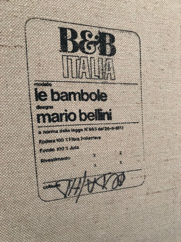 Leather 'Bambole' Living Room Set by Mario Bellini, 1972, Original Period Labels For Sale 10