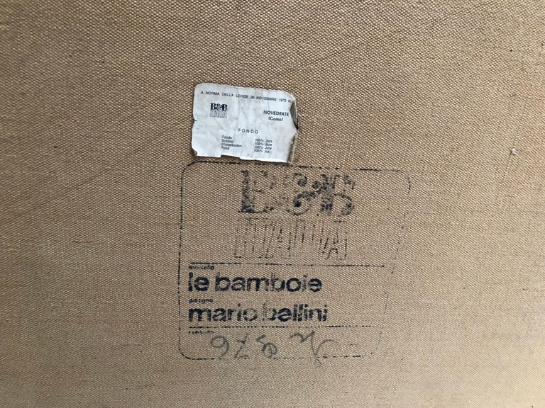 Leather 'Bambole' Living Room Set by Mario Bellini, 1972, Original Period Labels For Sale 11