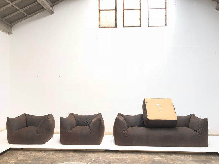 Leather 'Bambole' Living Room Set by Mario Bellini, 1972, Original Period Labels For Sale 6