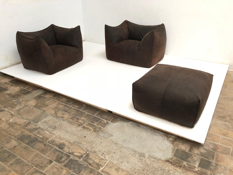 Leather 'Bambole' Living Room Set by Mario Bellini, 1972, Original Period Labels For Sale 2