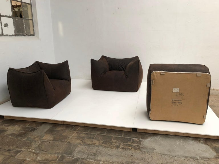 Leather 'Bambole' Living Room Set by Mario Bellini, 1972, Original Period Labels For Sale 9